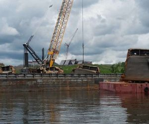 Sunken barge recovered from Hudson River at Port of Coeymans